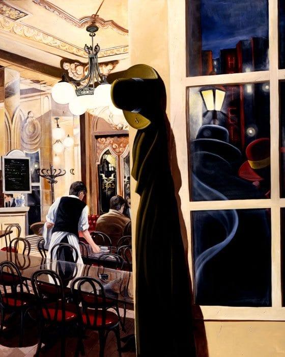 Night Coffee | Victor Ostrovsky | Painting-Exposures International Gallery of Fine Art - Sedona AZ