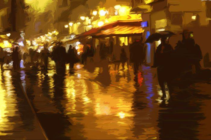Rainy Streets | Victor Ostrovsky | Painting-Exposures International Gallery of Fine Art - Sedona AZ