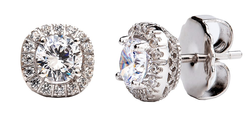 Sterling Silver 1.5 Carat Cushion Cut Studs with Ornate Side Detailing | Bling By Wilkening | Jewelry-Exposures International Gallery of Fine Art - Sedona AZ