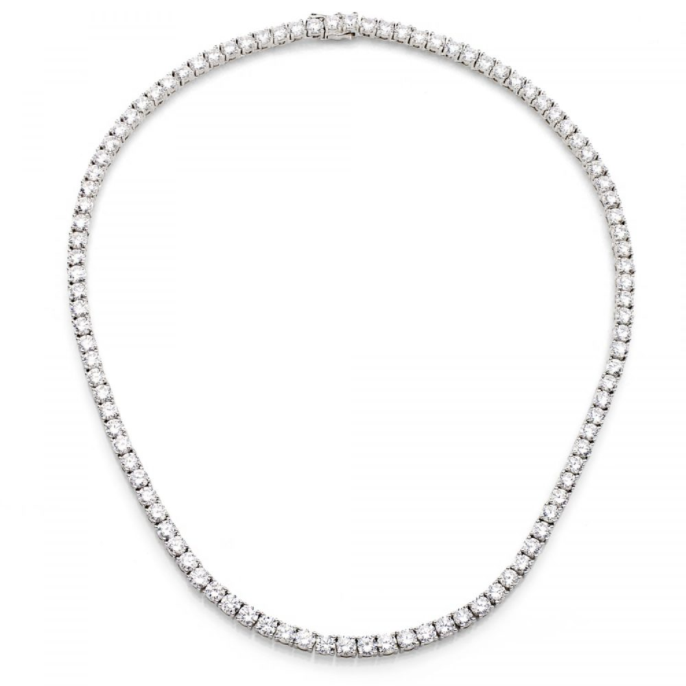Silver Classic Tennis Necklace with Double Security Clasp 16.5"