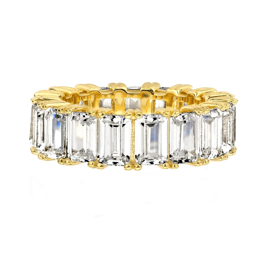 18 KGP 4 Prong Emerald Cut Eternity Ring Band | Bling By Wilkening | Jewelry-Exposures International Gallery of Fine Art - Sedona AZ