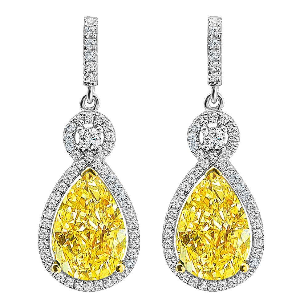 Silver Victorian Fancy Light Yellow Teardrops with 18 KGP Prongs | Bling By Wilkening | Jewelry-Exposures International Gallery of Fine Art - Sedona AZ