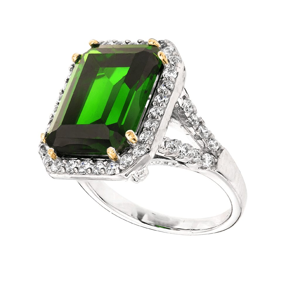 Sterling Silver 8 Carat Emerald Hued Emerald Cut Ring with 18 KGP Prongs | Bling By Wilkening | Jewelry-Exposures International Gallery of Fine Art - Sedona AZ