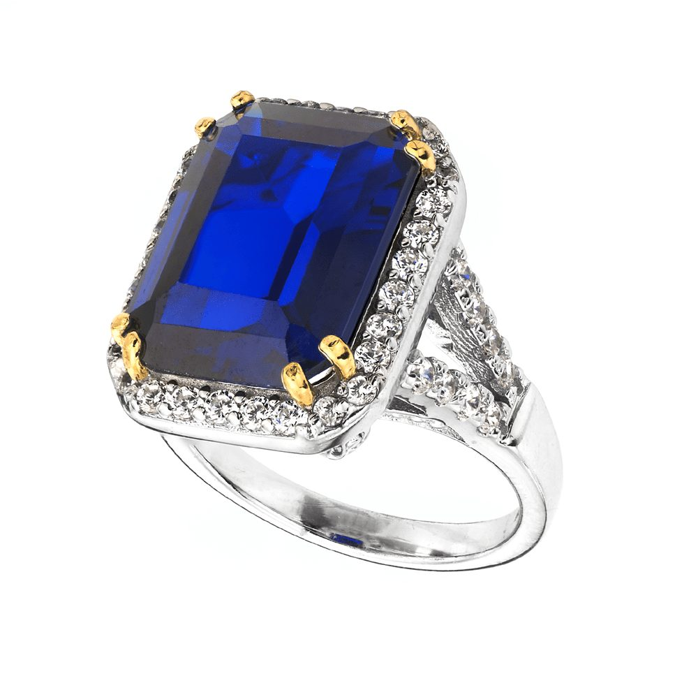 Sterling Silver 8 Carat Sapphire Hued Emerald-Cut Ring with 18 KGP Prongs | Bling By Wilkening | Jewelry-Exposures International Gallery of Fine Art - Sedona AZ