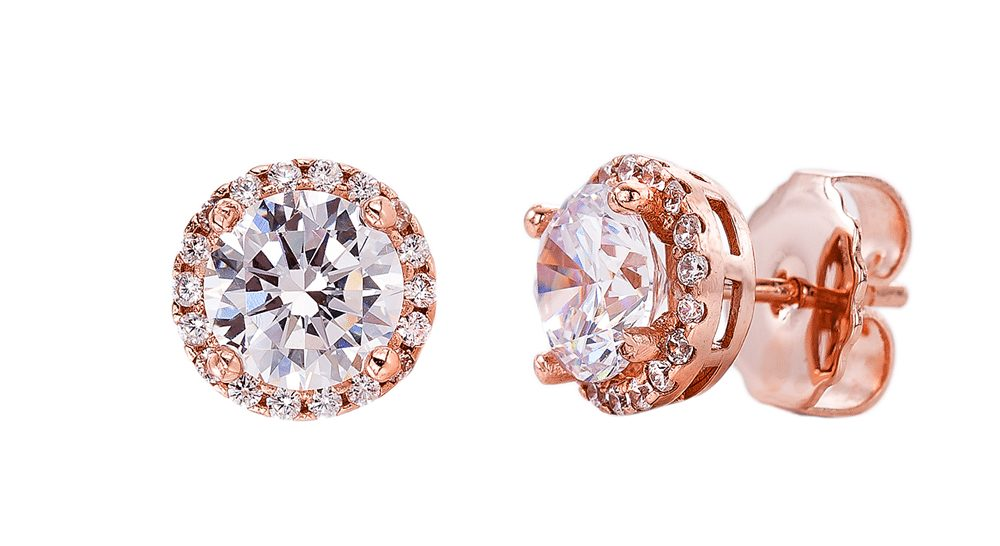 18 KGP Rose Gold 2.5 Carat Clear Round Studs with Halo | Bling By Wilkening | Jewelry-Exposures International Gallery of Fine Art - Sedona AZ