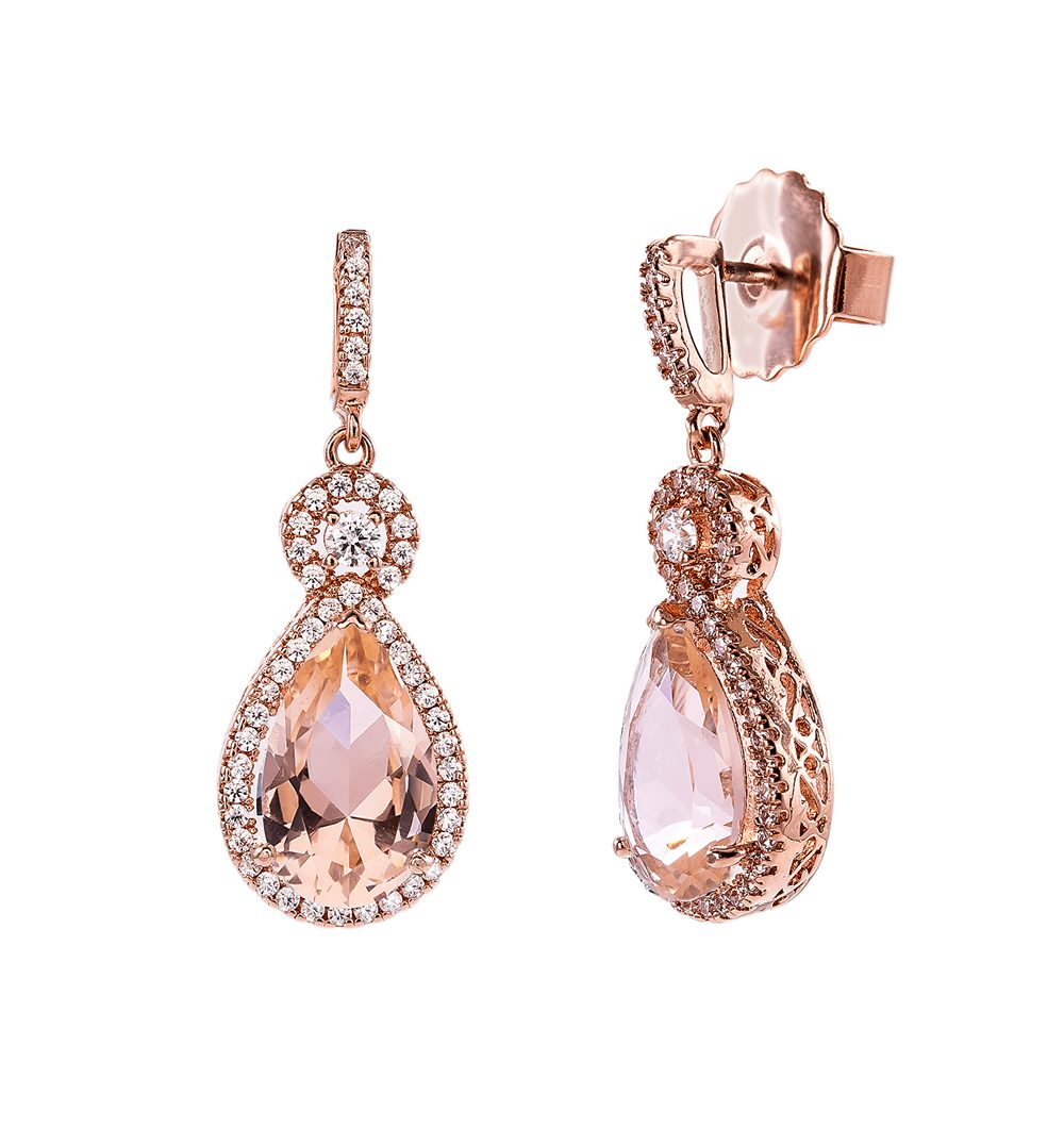 18 KGP Rose Gold Morganite Hued Victorian Teardrops | Bling By Wilkening | Jewelry-Exposures International Gallery of Fine Art - Sedona AZ