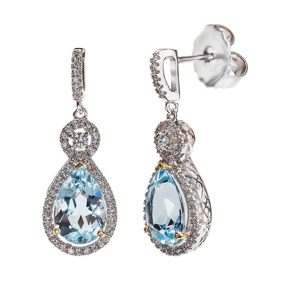 Silver Blue Topaz Victorian Teardrops with 18 KGP Prongs   Bling By Wilkening   Jewelry-Exposures International Gallery of Fine Art - Sedona AZ