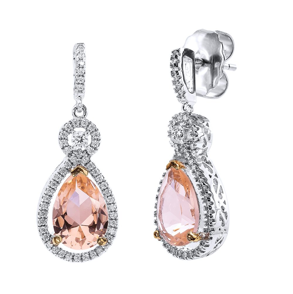 Silver Morganite Hued Victorian Teardrops with 18 KGP Prongs | Bling By Wilkening | Jewelry-Exposures International Gallery of Fine Art - Sedona AZ