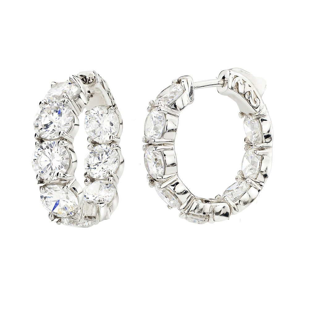 Sterling Silver Small Large Stone Couture Hoops | Bling By Wilkening | Jewelry-Exposures International Gallery of Fine Art - Sedona AZ