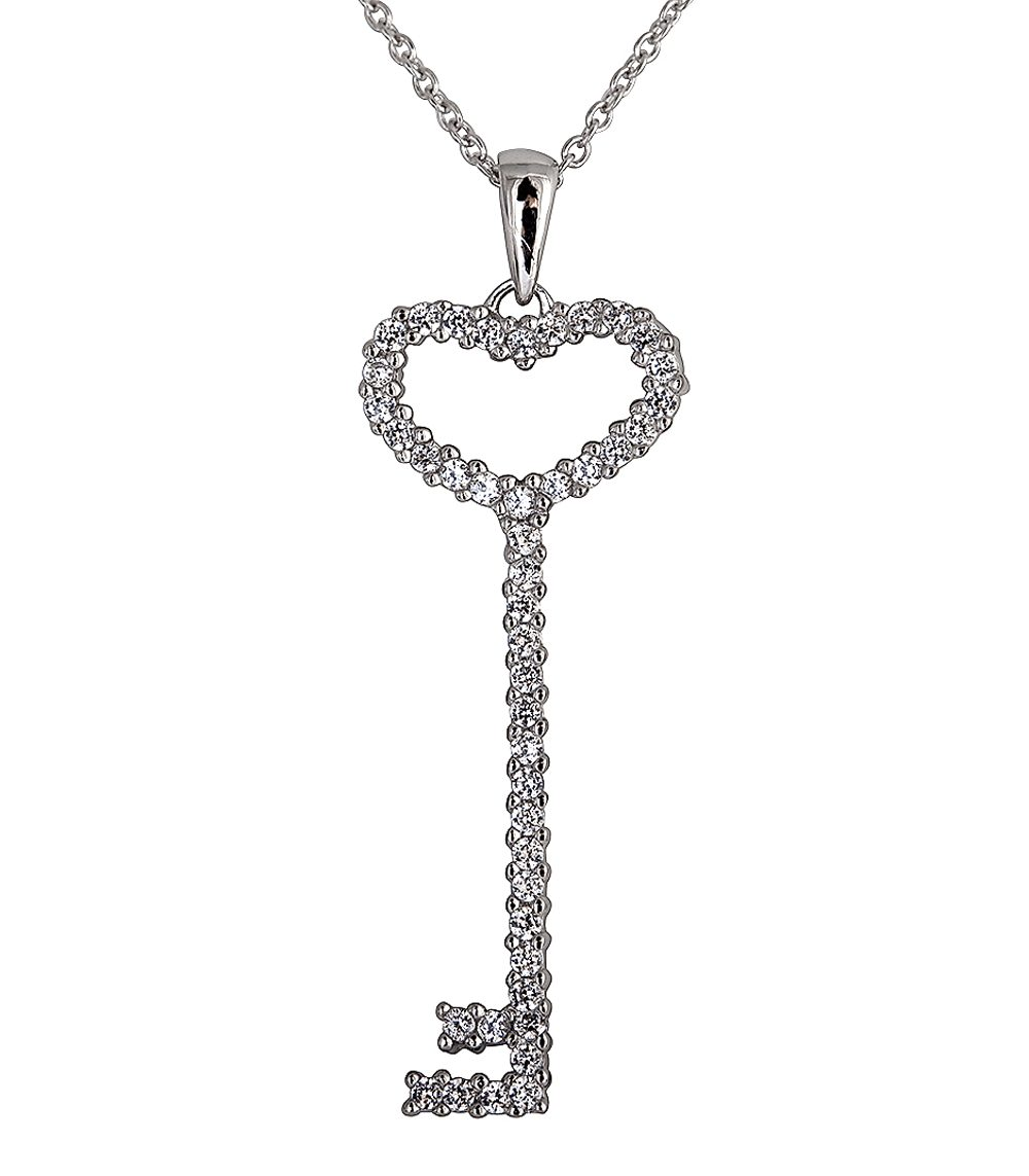 Sterling Silver Thin Pave? Heart Key Necklace | Bling By Wilkening | Jewelry-Exposures International Gallery of Fine Art - Sedona AZ