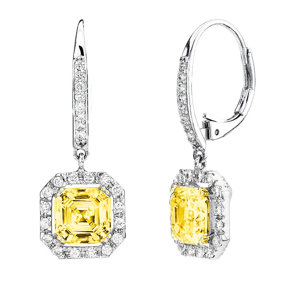 Silver Fancy Light Yellow Canary Asscher Cut Drops with 18 KGP Prongs | Bling By Wilkening | Jewelry-Exposures International Gallery of Fine Art - Sedona AZ