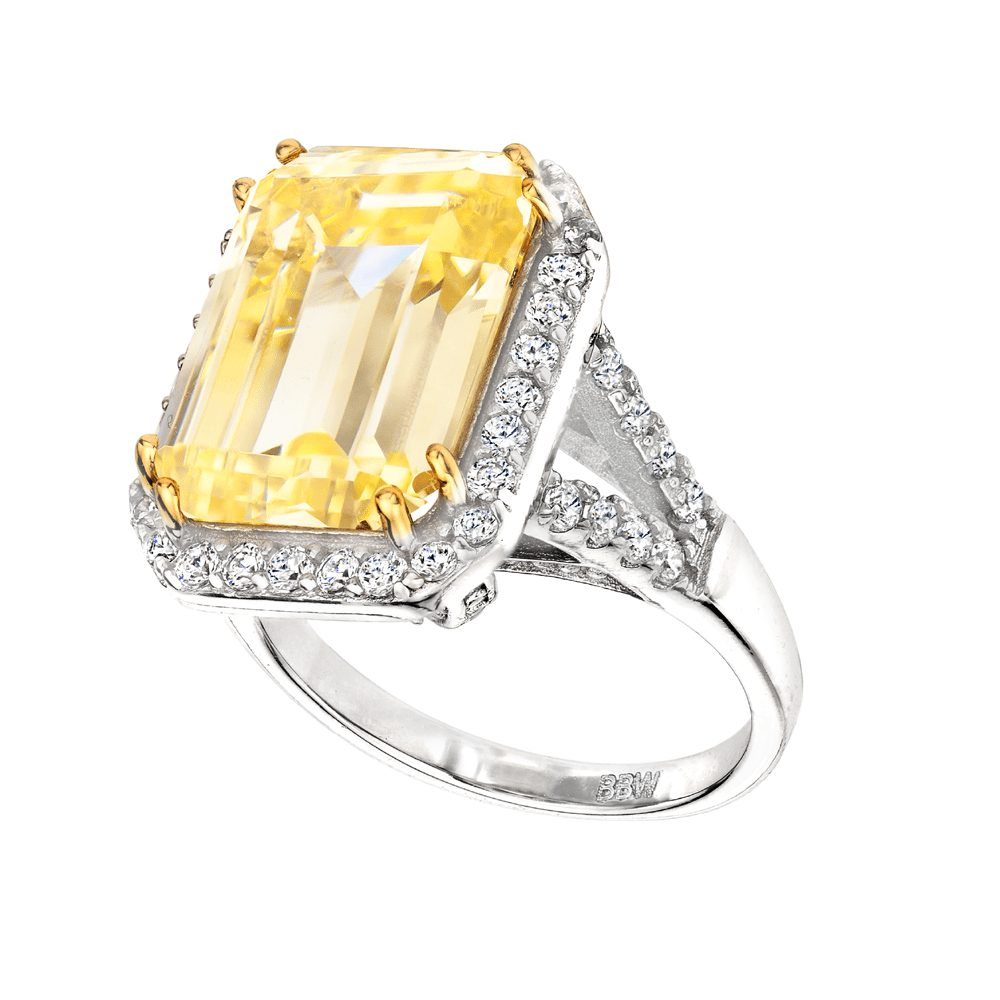 Sterling Silver 8 Carat Fancy Light Yellow Emerald Cut Ring with 18 KGP Prongs | Bling By Wilkening | Jewelry-Exposures International Gallery of Fine Art - Sedona AZ