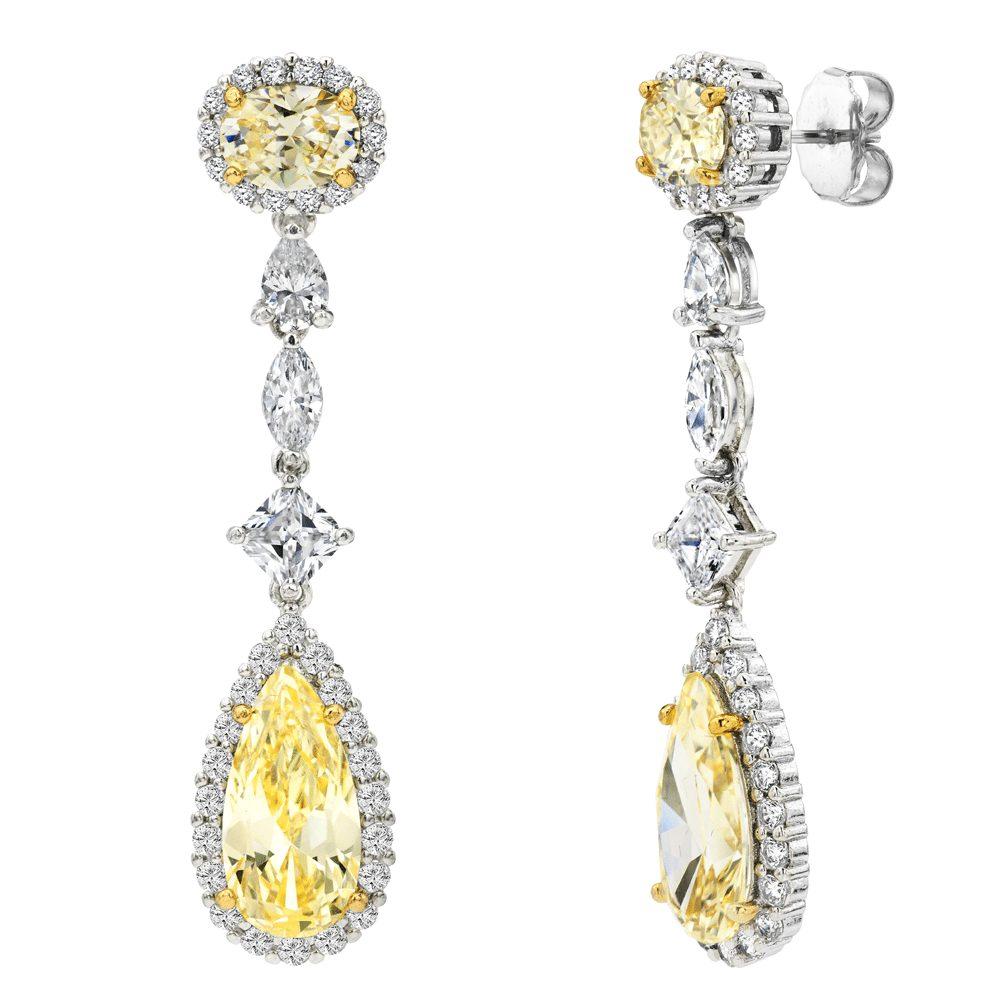 Silver Fancy Light Yellow Regal Teardrops with 18 KGP Prongs | Bling By Wilkening | Jewelry-Exposures International Gallery of Fine Art - Sedona AZ