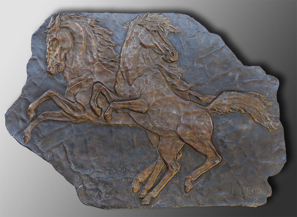 Mustang Relief   Bobbie Carlyle   sculpture-Exposures International Gallery of Fine Art - Sedona AZ