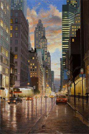 Rain in New York City | Alexander Volkov | Painting-Exposures International Gallery of Fine Art - Sedona AZ