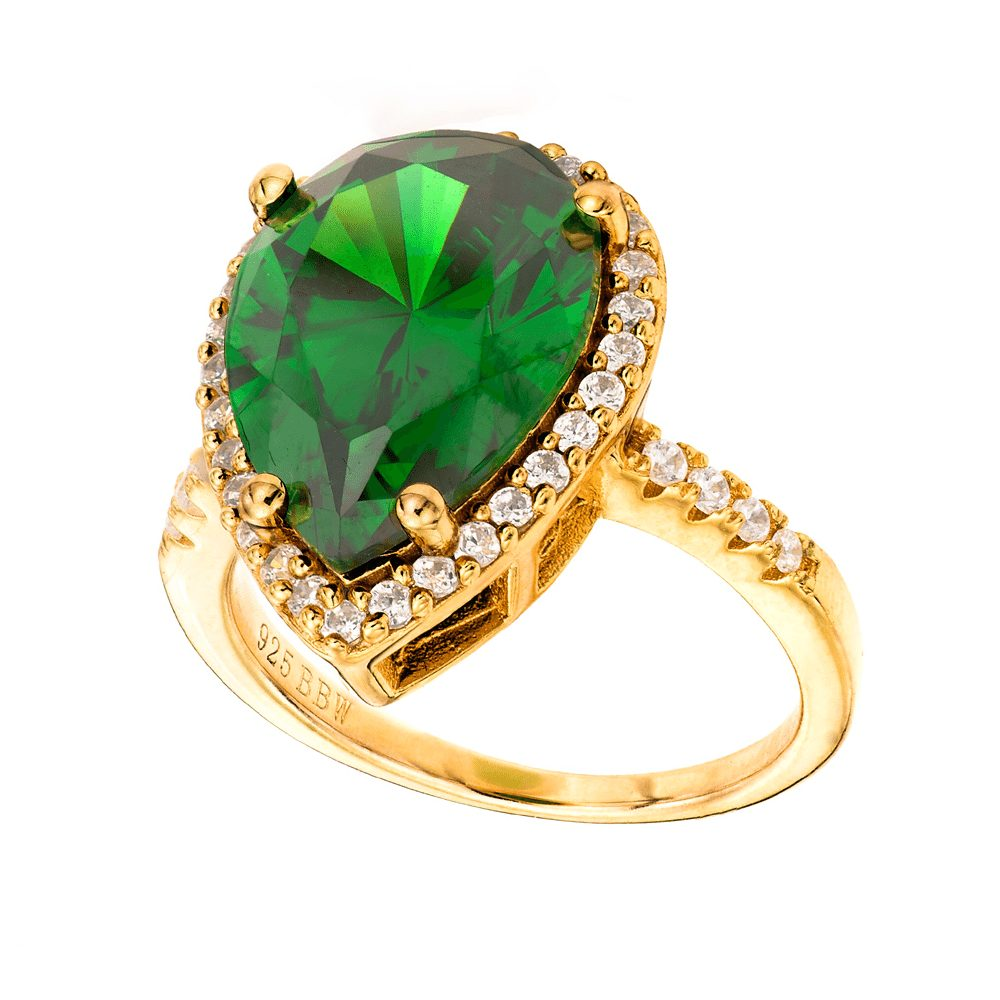 Bling By Wilkening Gold Green Pear Shaped Ring