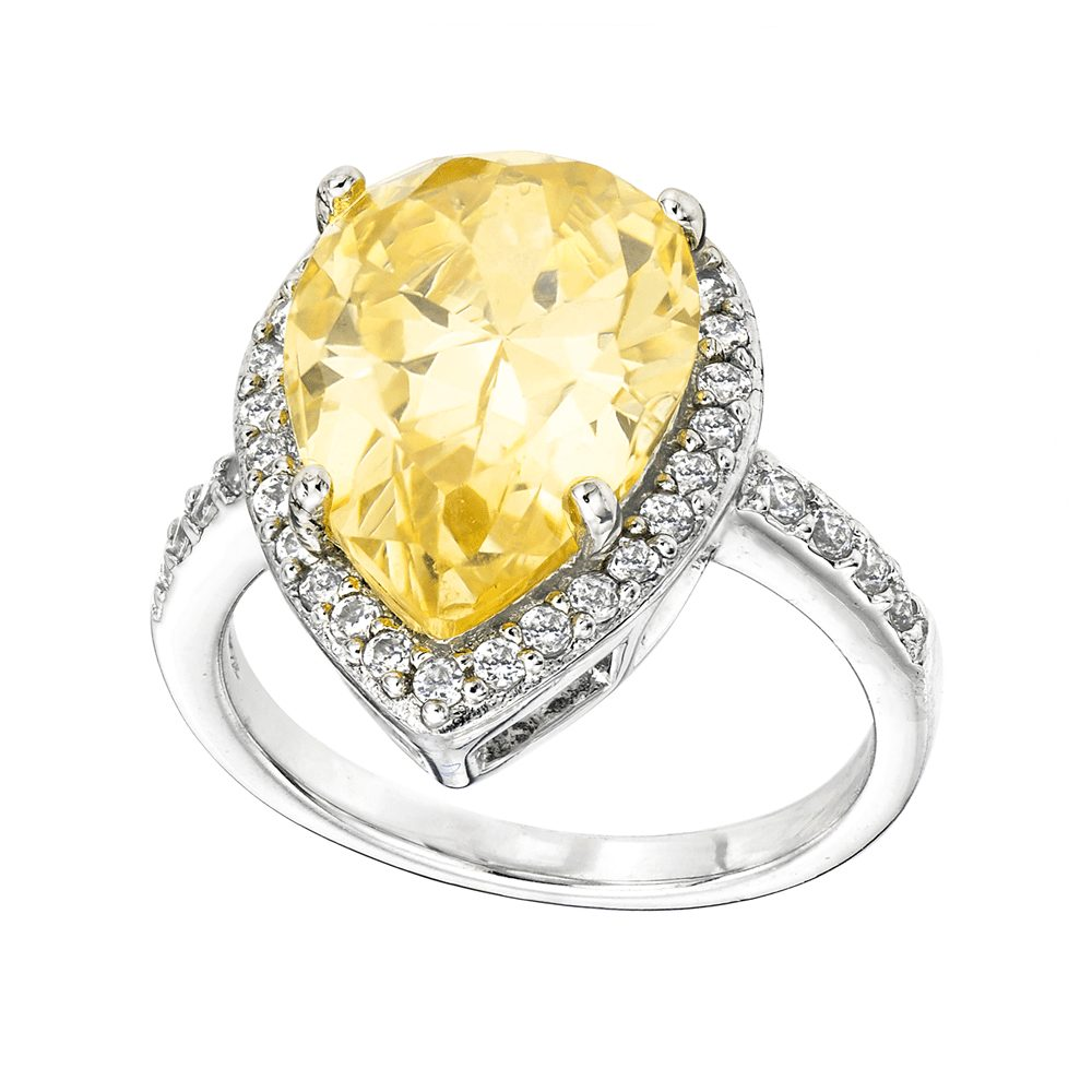 Bling By Wilkening Silver Yellow Rear Shaped Ring