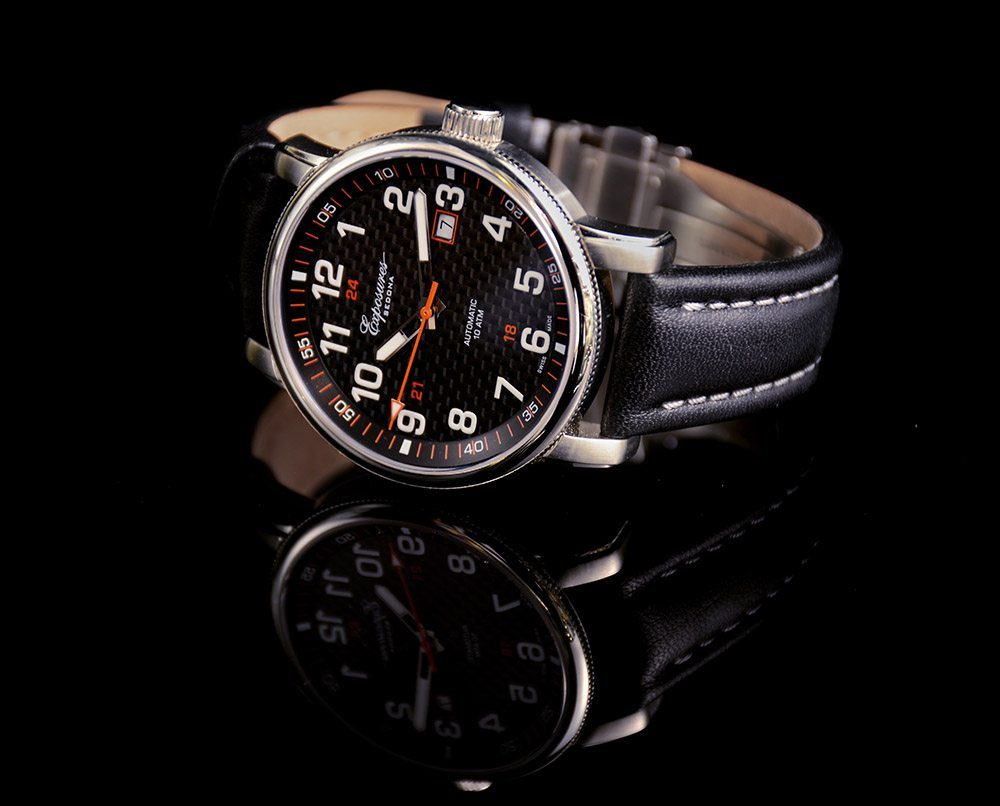 Exposures Mens Watch with Stainless-Steel and Leather Strap