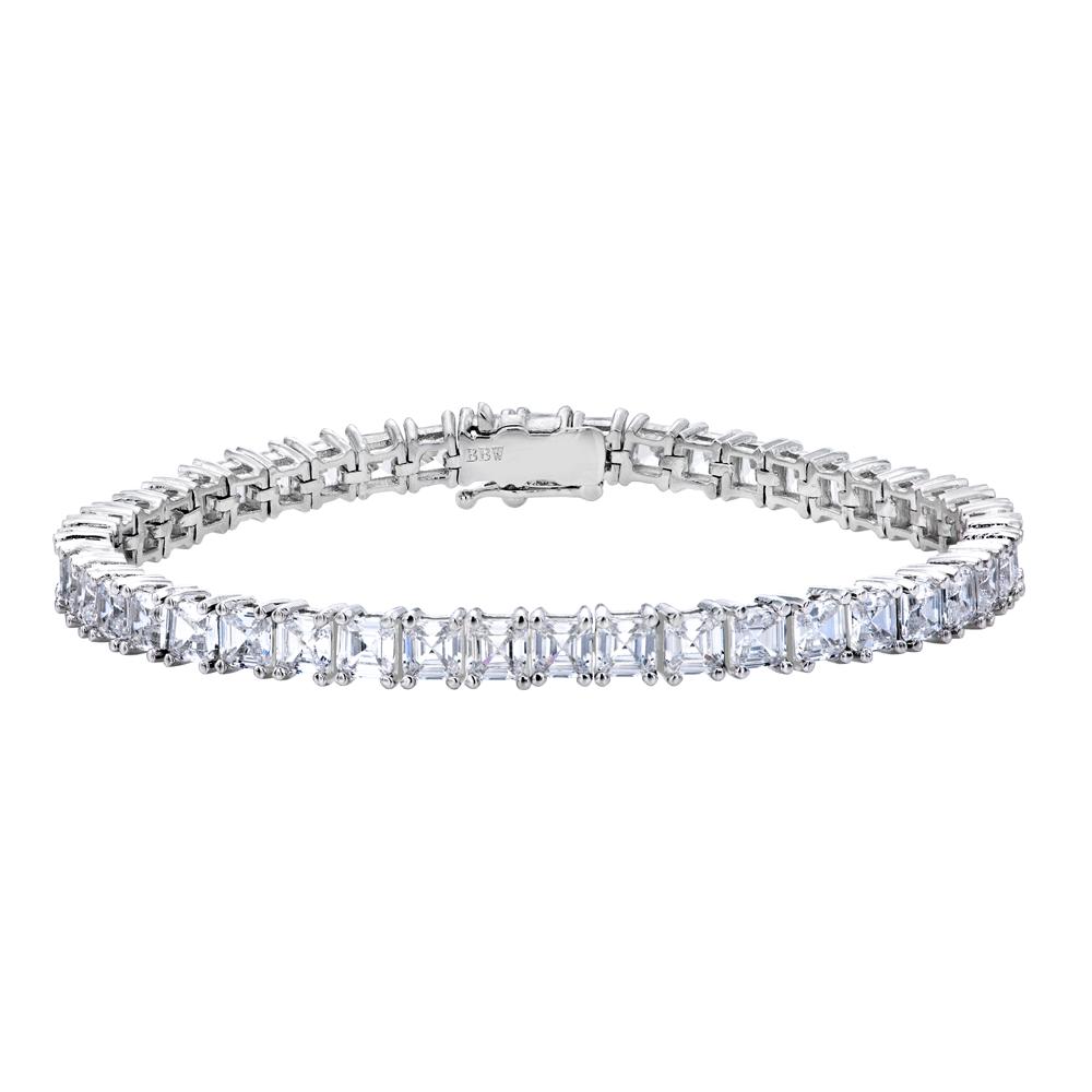 Silver Asscher Cut Tennis Bracelet with Double Security Clasp | Bling By Wilkening | Jewelry-Exposures International Gallery of Fine Art - Sedona AZ