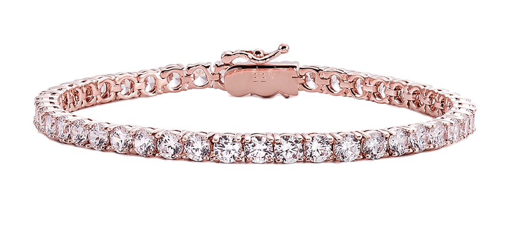 18 KGP Rose Gold 4mm Classic Tennis Bracelet with Double Security Clasp | Bling By Wilkening | Jewelry-Exposures International Gallery of Fine Art - Sedona AZ