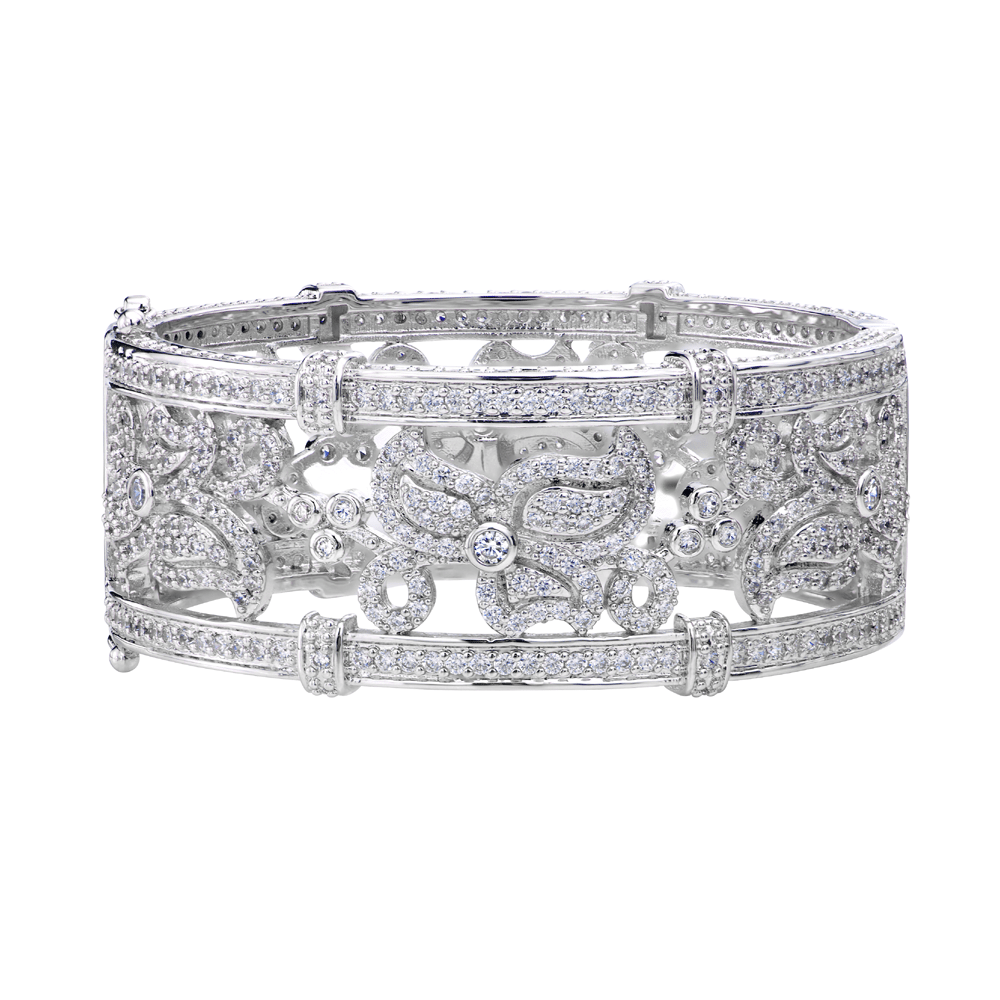 Silver Floral Ornate Micro Pavé Cuff with Double Security Bar Clasp | Bling By Wilkening | Jewelry-Exposures International Gallery of Fine Art - Sedona AZ