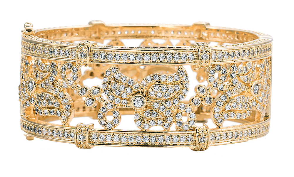 18 KGP Gold Floral Micro Pavé Cuff with Double Security Clasp | Bling By Wilkening | Jewelry-Exposures International Gallery of Fine Art - Sedona AZ