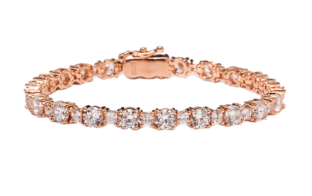 18 KGP Rose Gold Brilliant/Princess Tennis Bracelet with Double Security Clasp 6.75"