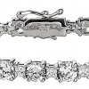 Silver Brilliant/Princess Cut Tennis Bracelet with Double Security Clasp-Z10025-7.25