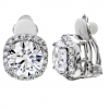 Silver 3 Carat Cushion Cut Clip Earrings-Z10069