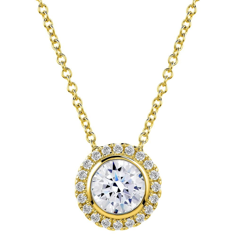 18 KGP 2 Carat Round Pendant Necklace with Halo | Bling By Wilkening | Jewelry-Exposures International Gallery of Fine Art - Sedona AZ