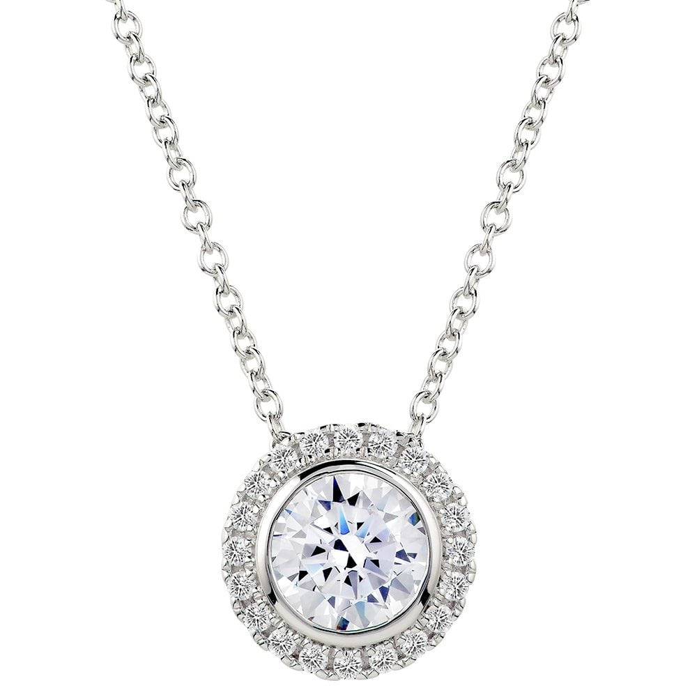 Sterling Silver 2 Carat Round Pendant Necklace with Halo | Bling By Wilkening | Jewelry-Exposures International Gallery of Fine Art - Sedona AZ