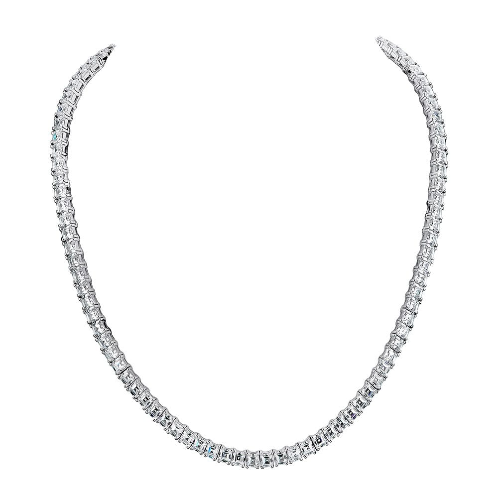 """Silver Asscher-Cut Couture Tennis Necklace with Double Security Clasp 16.5"""" 