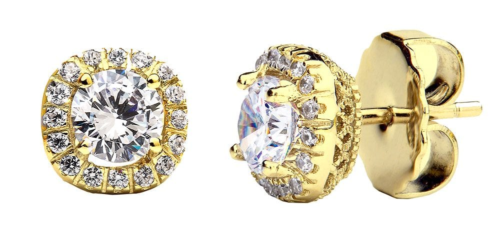 18 KGP 1.5 Carat Cushion Cut Studs with Ornate Side Detailing | Bling By Wilkening | Jewelry-Exposures International Gallery of Fine Art - Sedona AZ