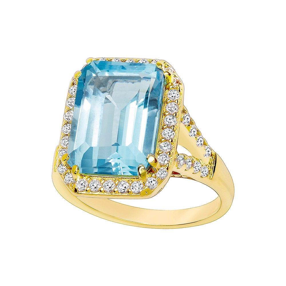 18 KGP 8 Carat Blue Topaz Emerald Cut Ring | Bling By Wilkening | Jewelry-Exposures International Gallery of Fine Art - Sedona AZ