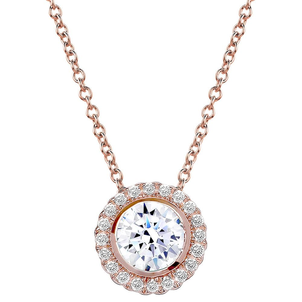 18 KGP Rose Gold 2 Carat Round Pendant Necklace with Halo | Bling By Wilkening | Jewelry-Exposures International Gallery of Fine Art - Sedona AZ