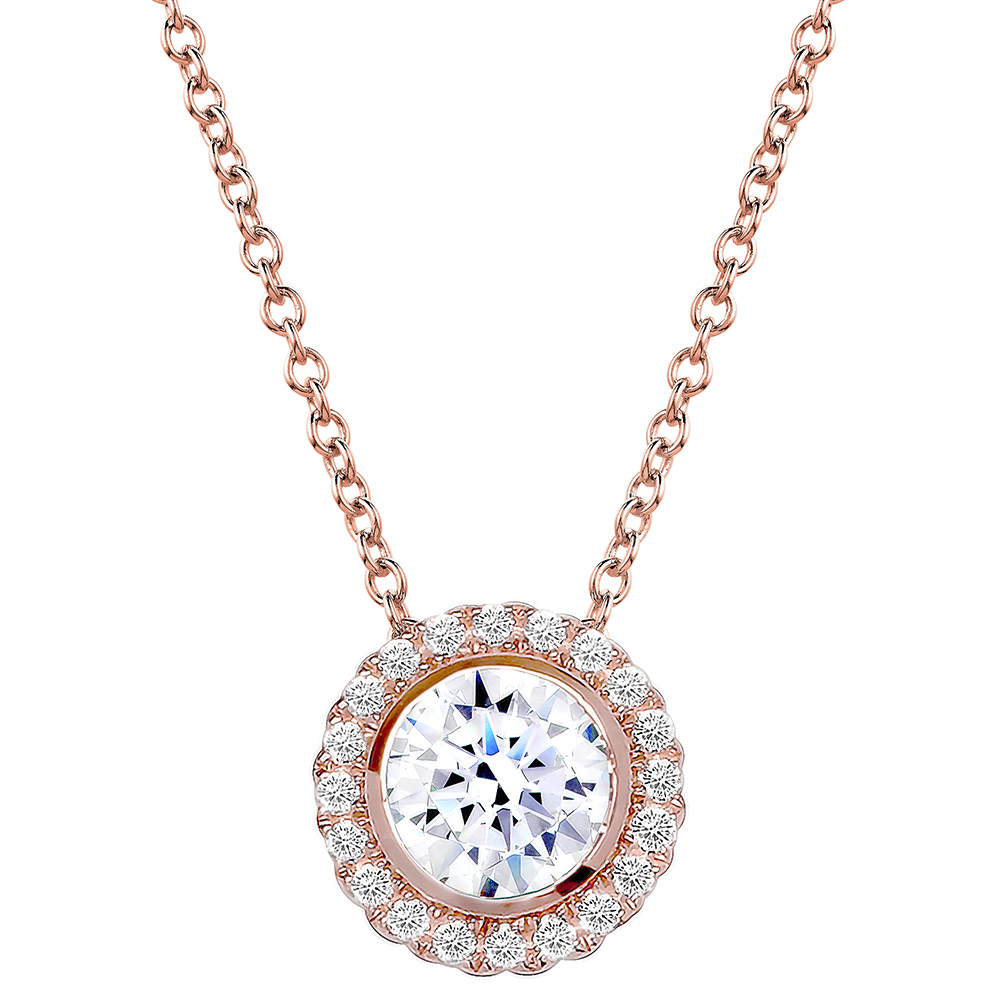 18 Kgp Rose Gold 2 Carat Round Pendant Necklace With Halo Exposures International Gallery Of Fine Art