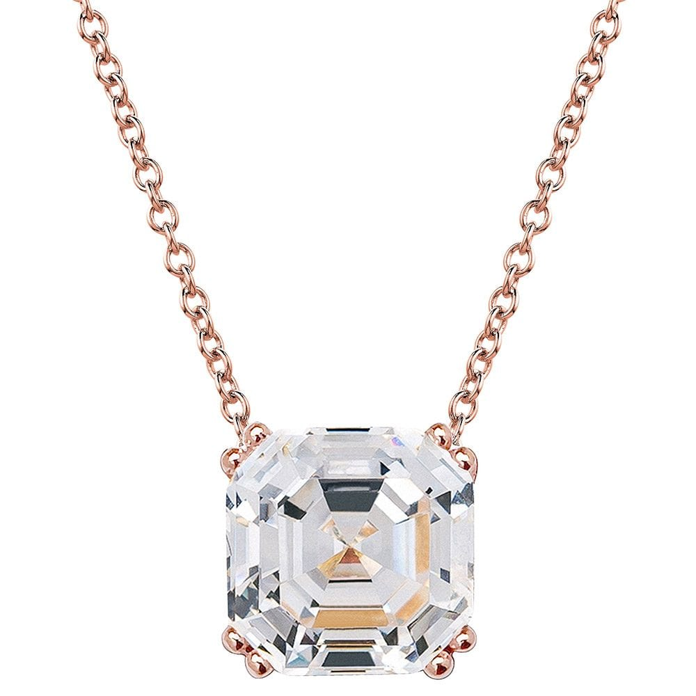 18 KGP Rose Gold Regal 2 Carat Solitaire Asscher Cut Necklace | Bling By Wilkening | Jewelry-Exposures International Gallery of Fine Art - Sedona AZ