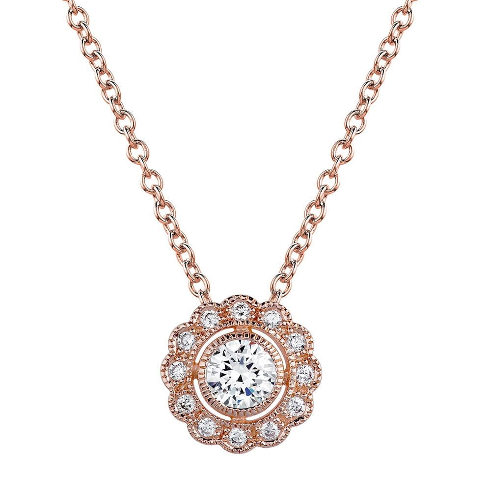 18 KGP Rose Round Vintage Lace Necklace | Bling By Wilkening | Jewelry-Exposures International Gallery of Fine Art - Sedona AZ