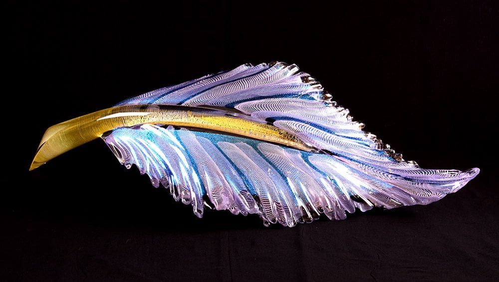 Resting Electric Feather - Purple/Blue | Nic McGuire | Sculpture-Exposures International Gallery of Fine Art - Sedona AZ