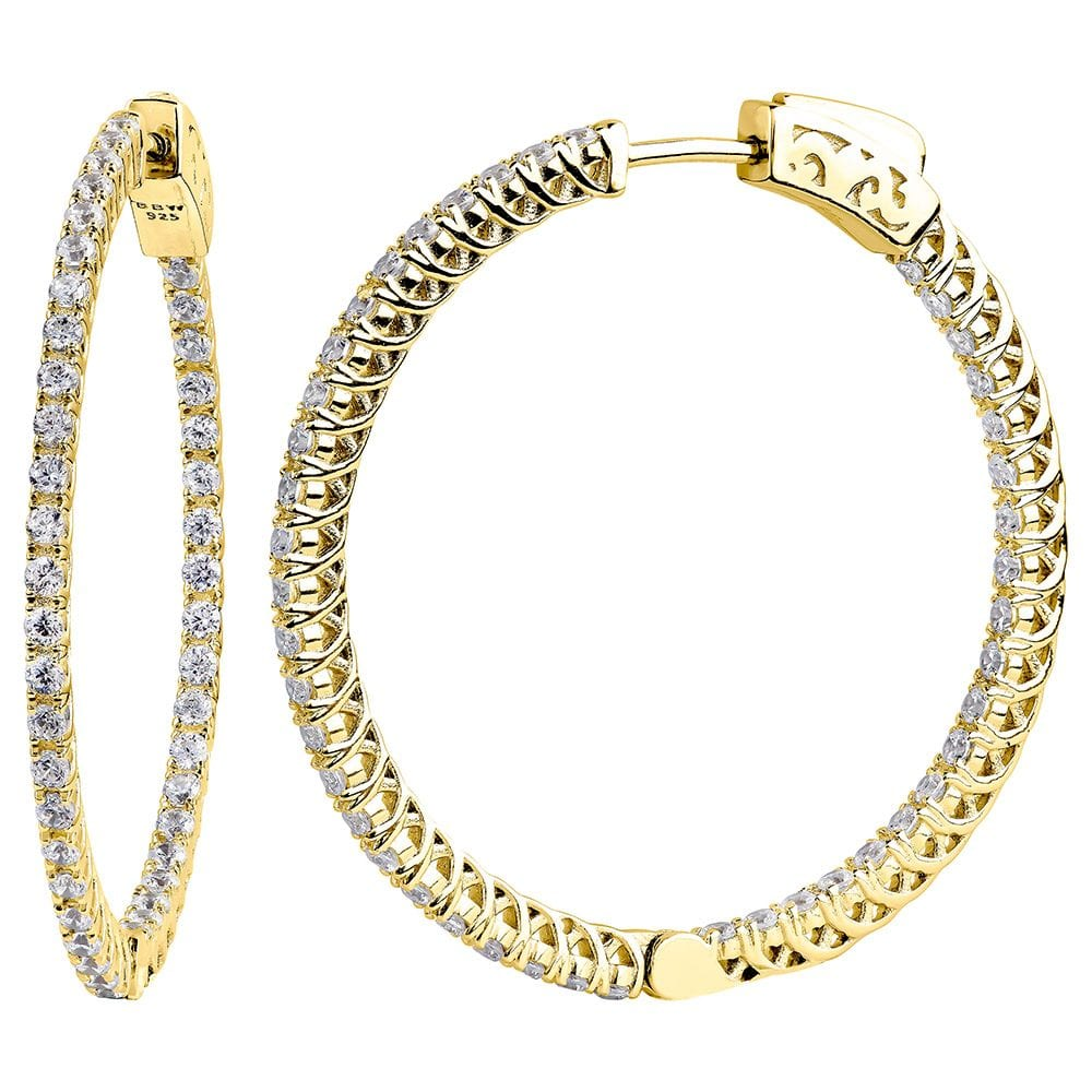 "18 KGP 1.25"" Thin In and Out Hoops with Filigree 