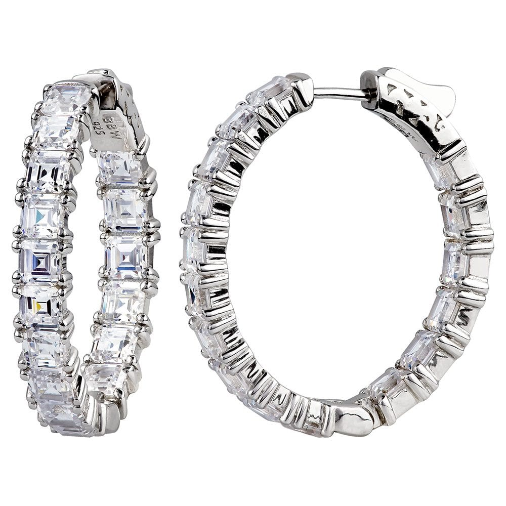 "Sterling Silver 1.25"" Asscher Cut Oval Couture Hoops 