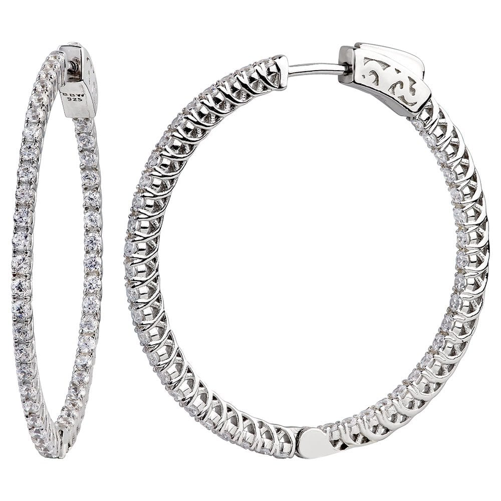 "Sterling Silver 1.25"" Thin in and Out Hoops with Filigree Setting 