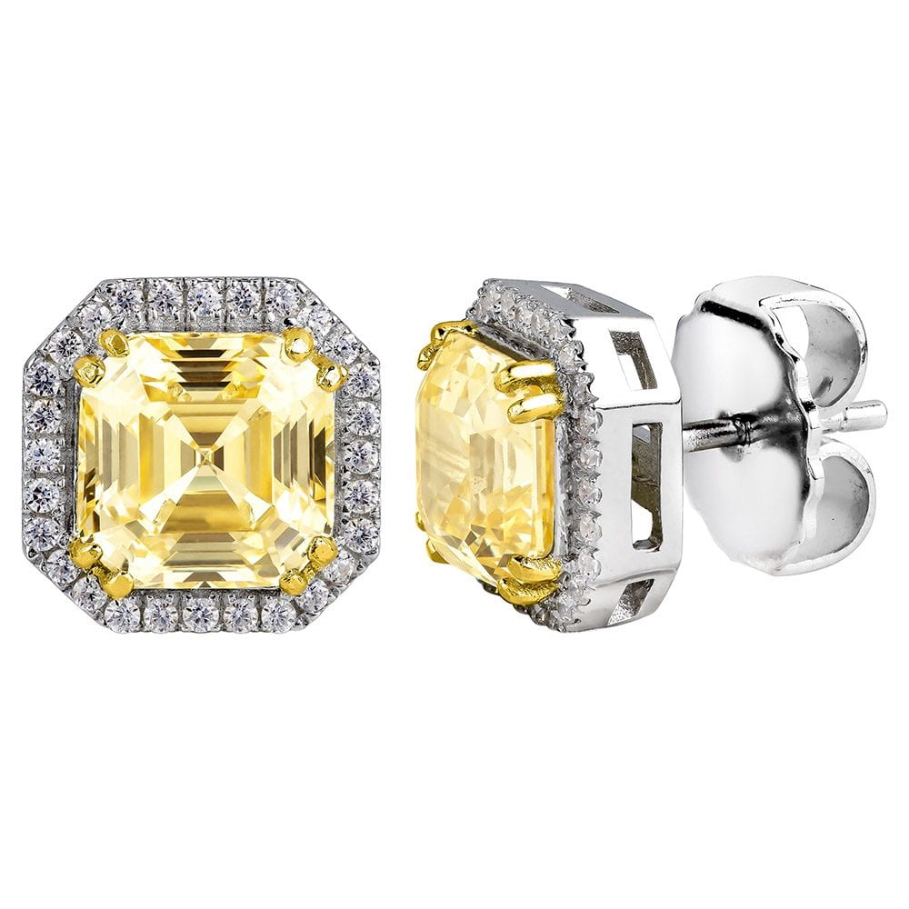 Sterling Silver Fancy Light Yellow 3 Carat Asscher Cut Studs with Halo and 18 KGP Prongs | Bling By Wilkening | Jewelry-Exposures International Gallery of Fine Art - Sedona AZ