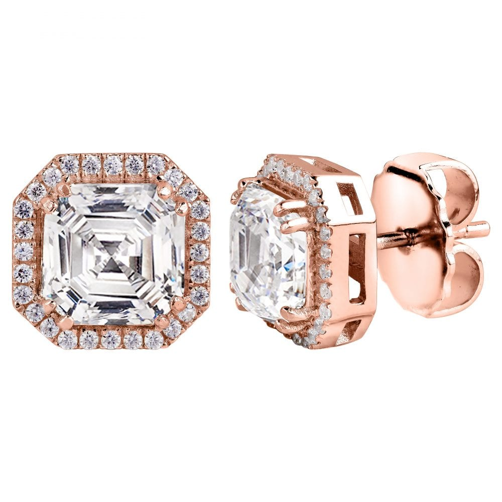 18 KGP Rose Gold 3 Carat Clear Asscher Cut Studs with Halo | Bling By Wilkening | Jewelry-Exposures International Gallery of Fine Art - Sedona AZ
