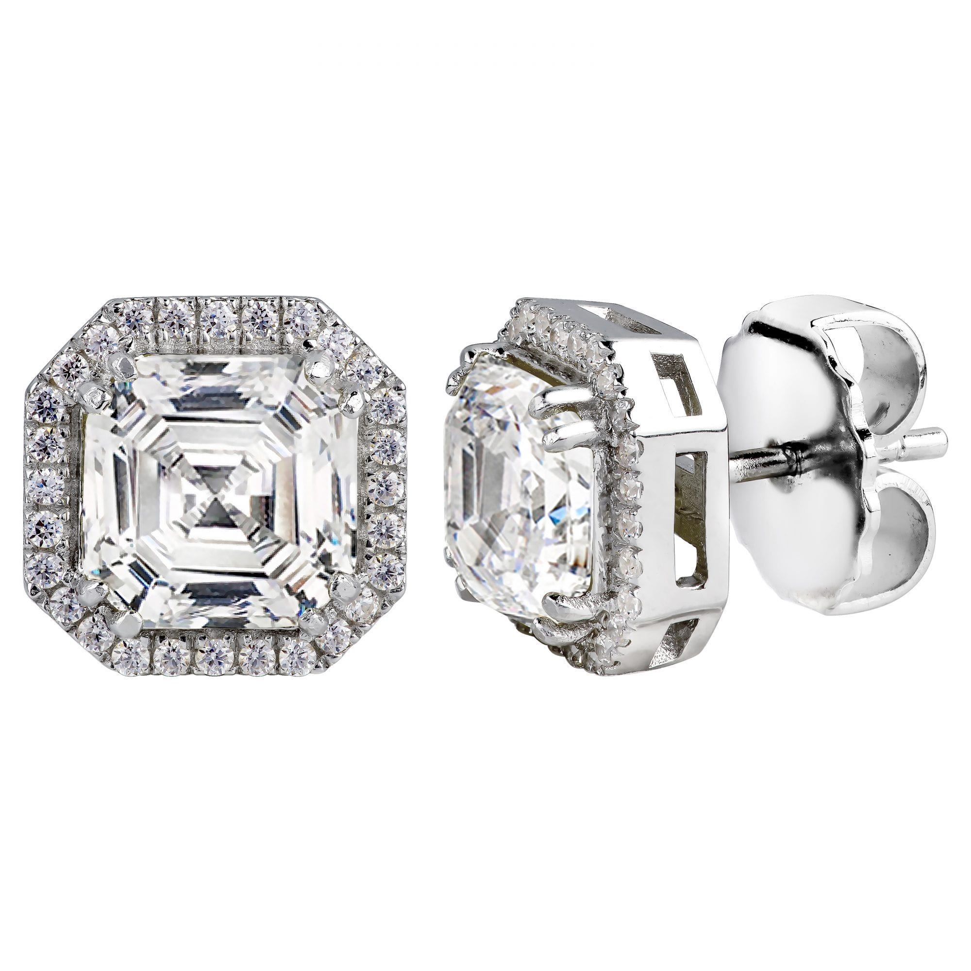 Sterling Silver 3 Carat Clear Asscher Cut Studs with Halo | Bling By Wilkening | Jewelry-Exposures International Gallery of Fine Art - Sedona AZ