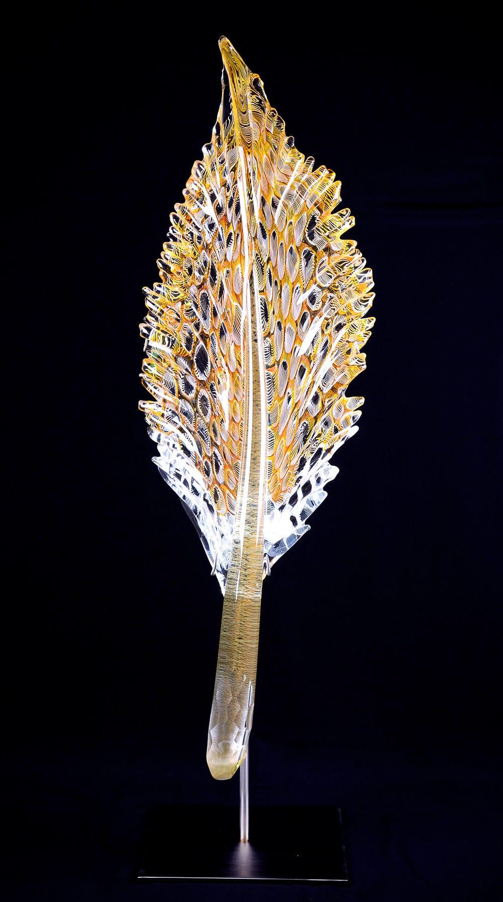 Gold Topaz Dragon Stem Feather   Nic McGuire   Sculpture-Exposures International Gallery of Fine Art - Sedona AZ