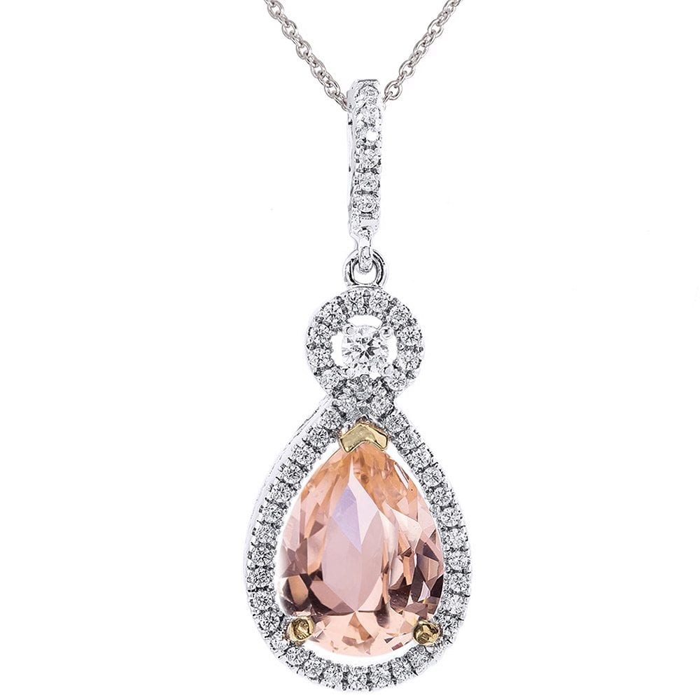 Silver Morganite-Hued Victorian Pear Shaped Necklace with Halo and 18KGP Prongs | Bling By Wilkening | Jewelry-Exposures International Gallery of Fine Art - Sedona AZ