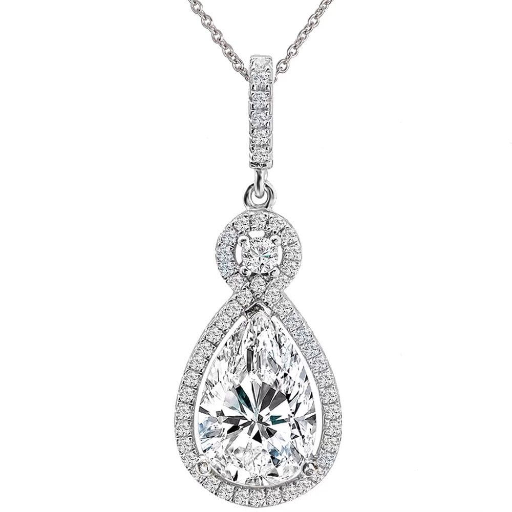 Silver Victorian Clear Pear-Shaped Necklace with Halo   Bling By Wilkening   Jewelry-Exposures International Gallery of Fine Art - Sedona AZ