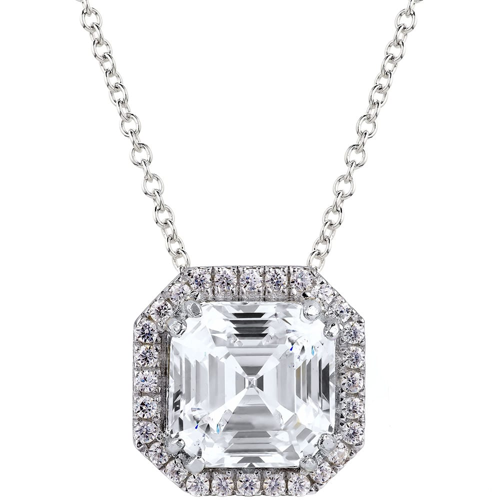 Sterling Silver 3 Carat Clear Asscher Cut Necklace with Halo | Bling By Wilkening | Jewelry-Exposures International Gallery of Fine Art - Sedona AZ