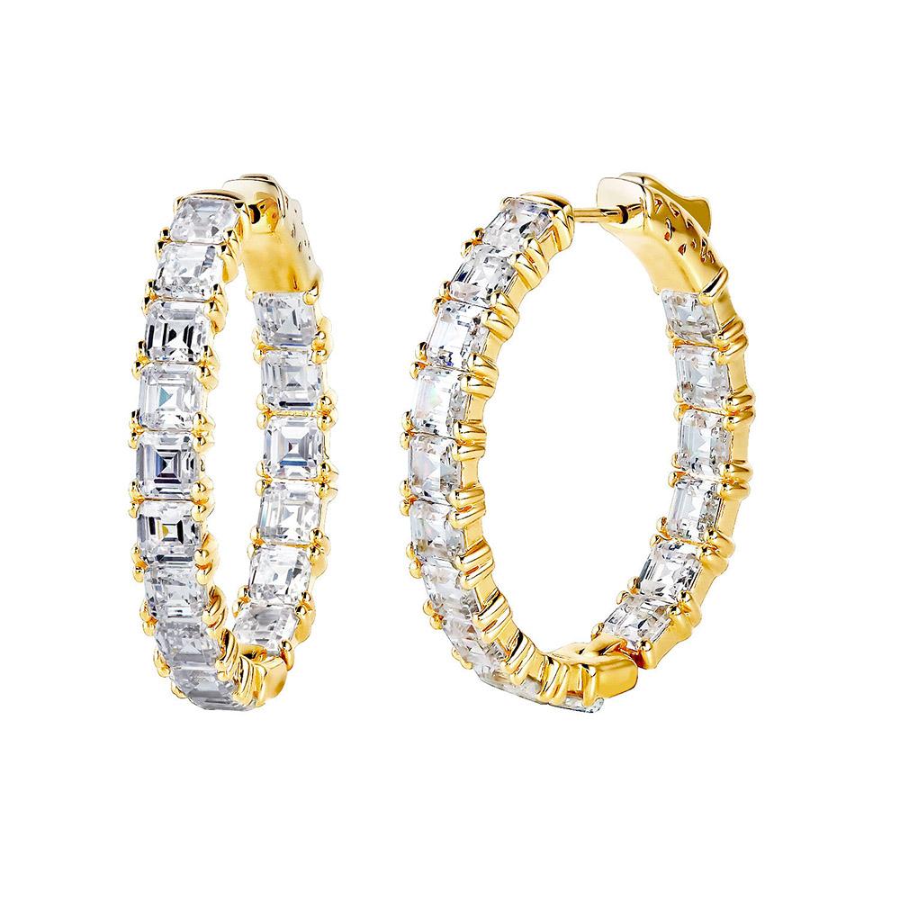 "18 KGP 1.25"" Asscher Cut Oval Couture Hoops | Bling By Wilkening | Jewelry-Exposures International Gallery of Fine Art - Sedona AZ"